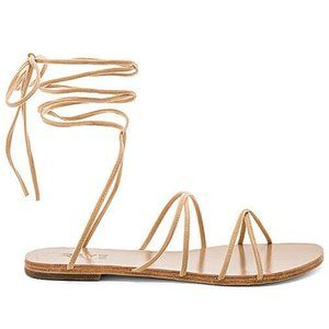 Raye Revolve Tan Leather Collette Wrap Up Sandal